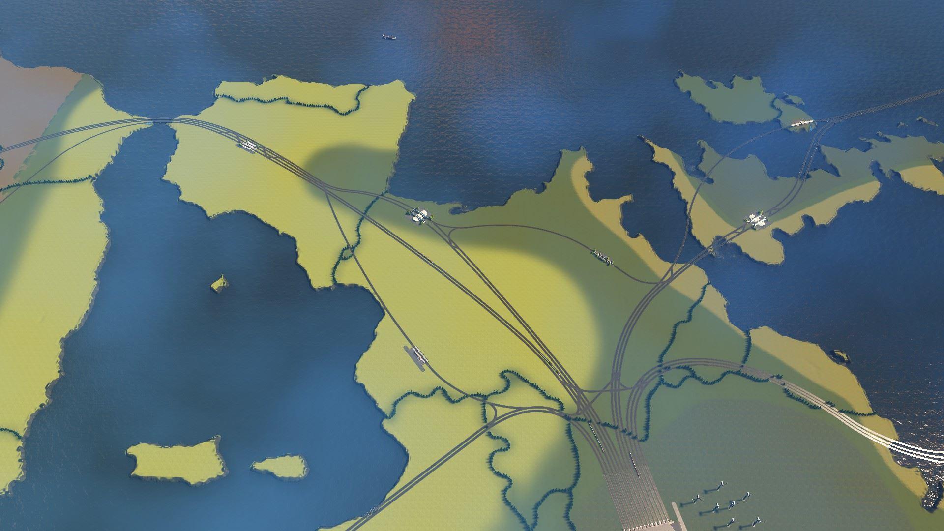 Screenshot aus Cities Skylines: Das Schienennetzwerk aus einem anderen Blickwinkel.