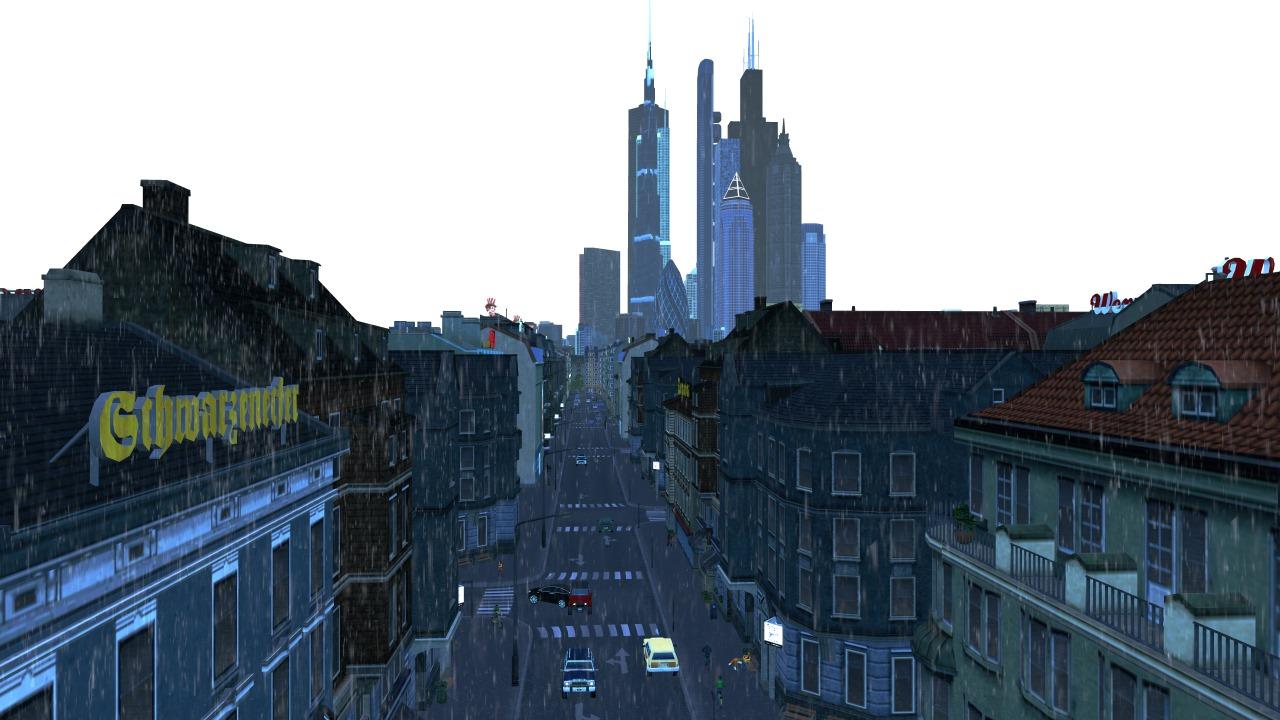 Screenshot aus Cities Skylines: Einblick in eine Straße bei Regen, im Hintergrund die Skyline.
