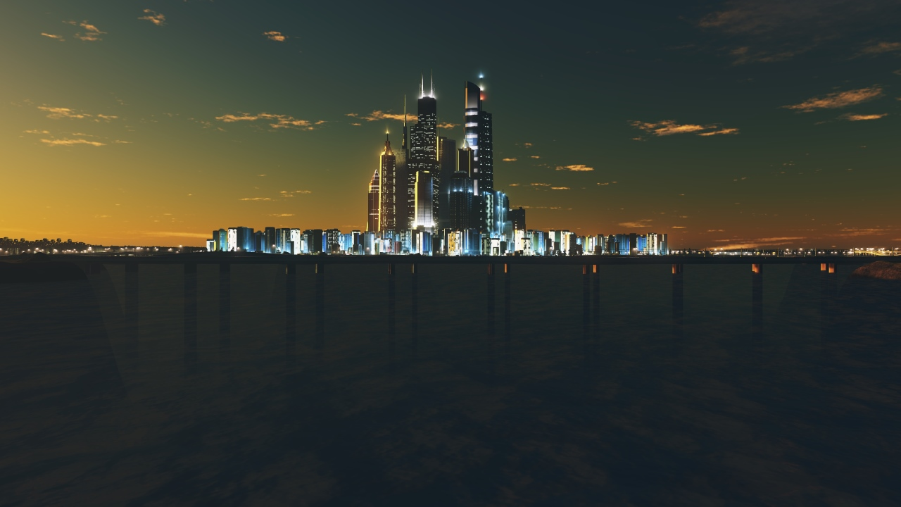 Screenshot aus Cities Skylines: Die Skyline der Stadt in der Abenddämmerung. Die ersten Lichter gehen an.