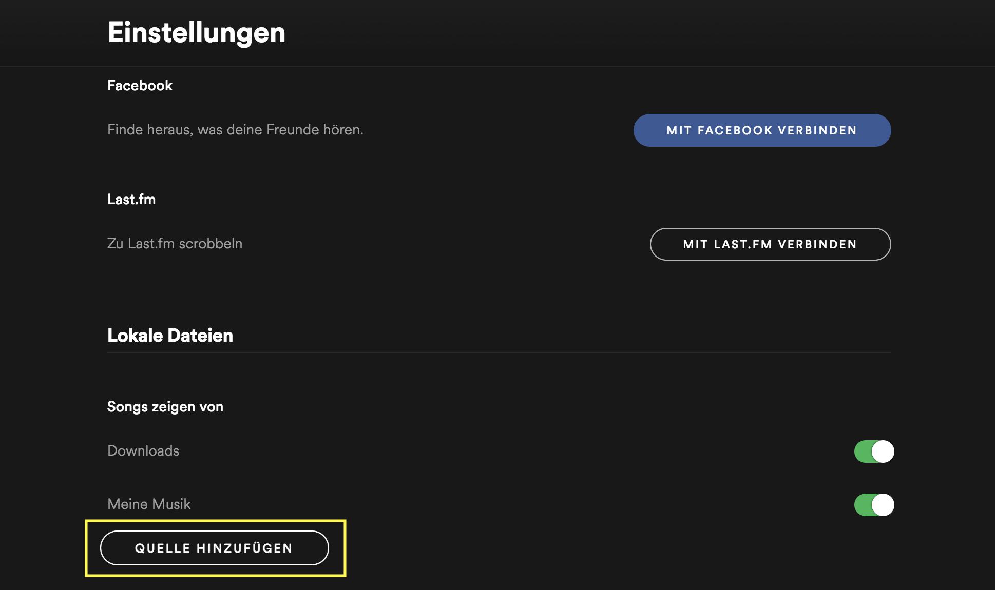 Screenshot der Spotify Einstellungen