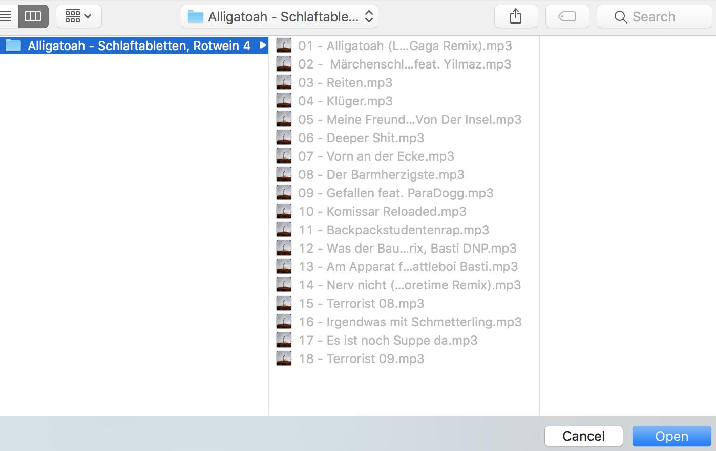 Screenshot des File Browsers