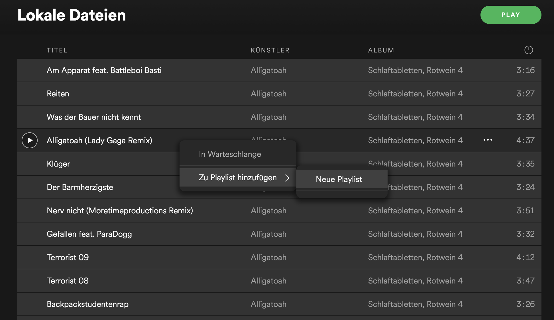 Screenshot Spotify