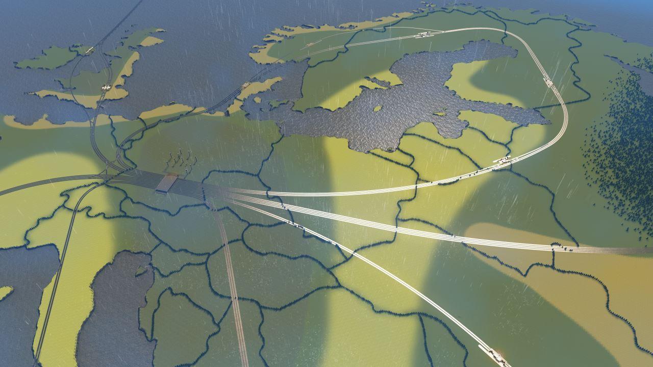 Screenshot aus Cities Skylines: Ansicht auf das verzweigte Zugnetzwerk, das sich über die Europakarte erstreckt. In der Mitte der Karte sammeln sich alle Gleise.