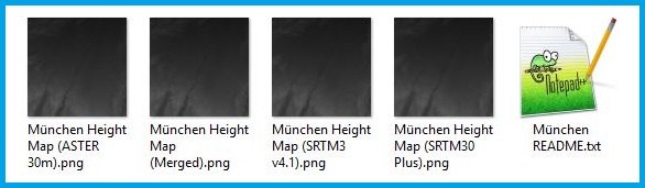 Bild der vier entpackten Heightmaps