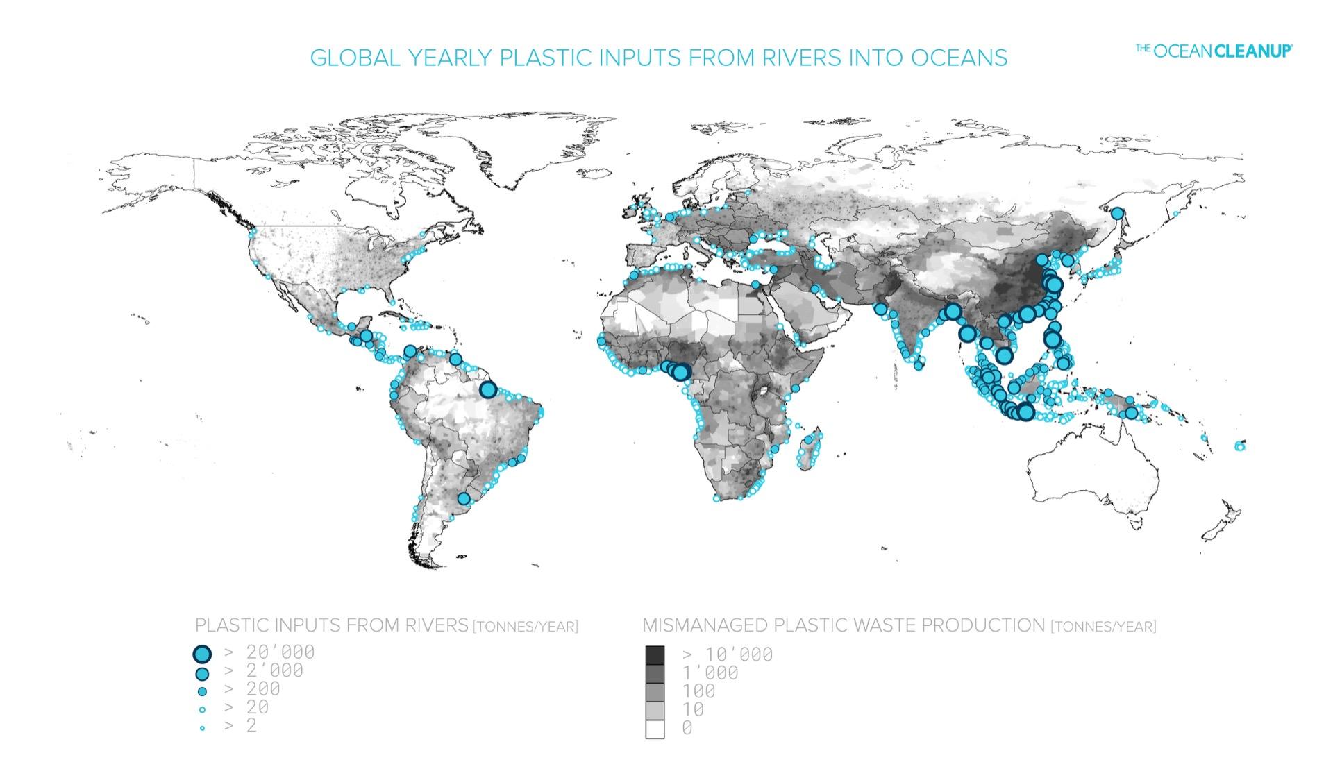 Karte über die jährliche Plastikverschmutzung, weltweit