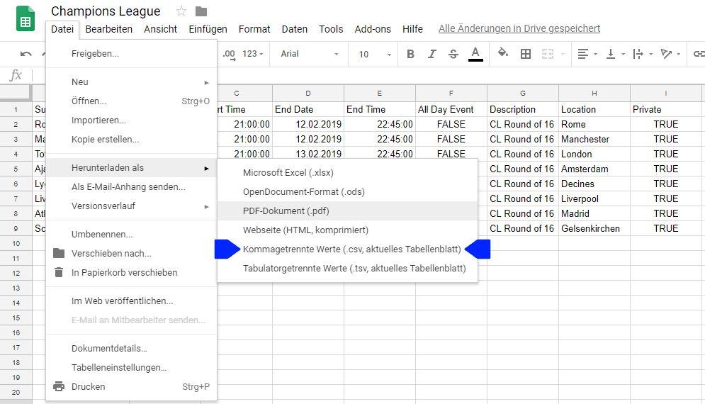 Datei herunterladen als .csv-Datei in Google Tabellen