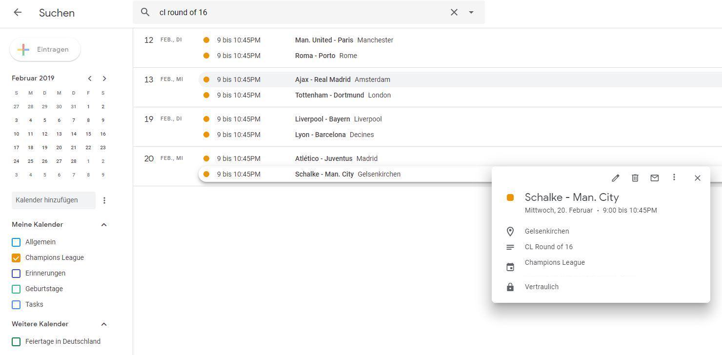 Übersicht aller importierten Einträge in Google Kalender.