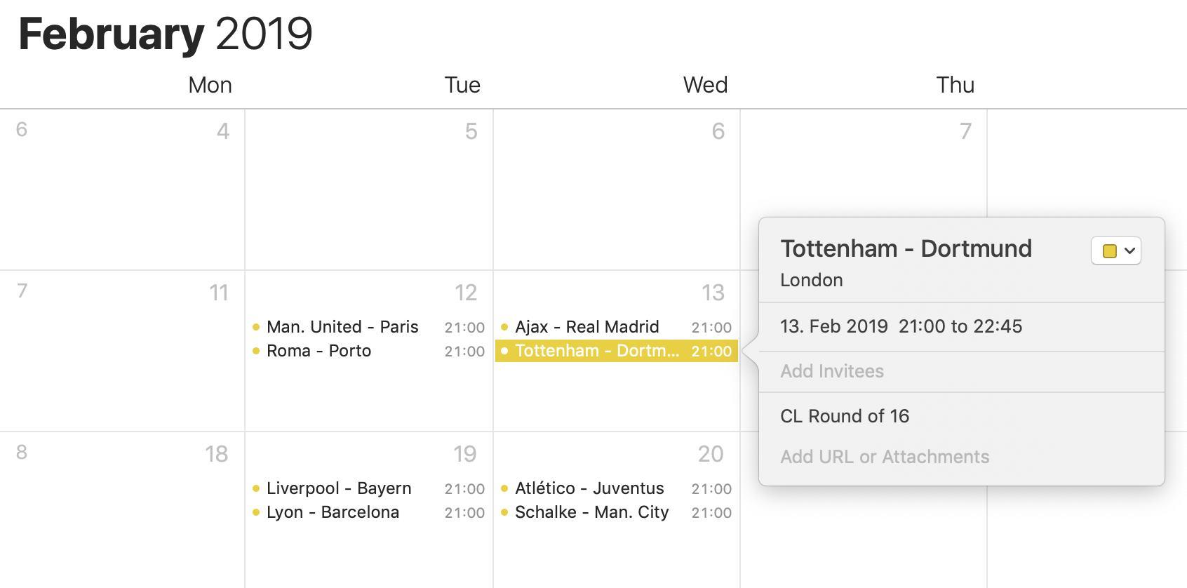 Übersicht der importierten Einträge in Apple Kalender.