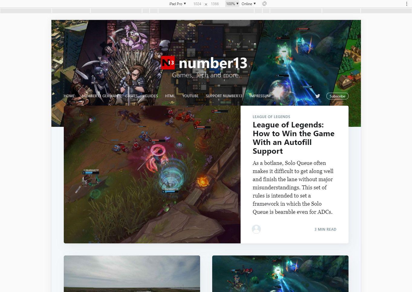 Darstellung des Blogs auf dem iPad.