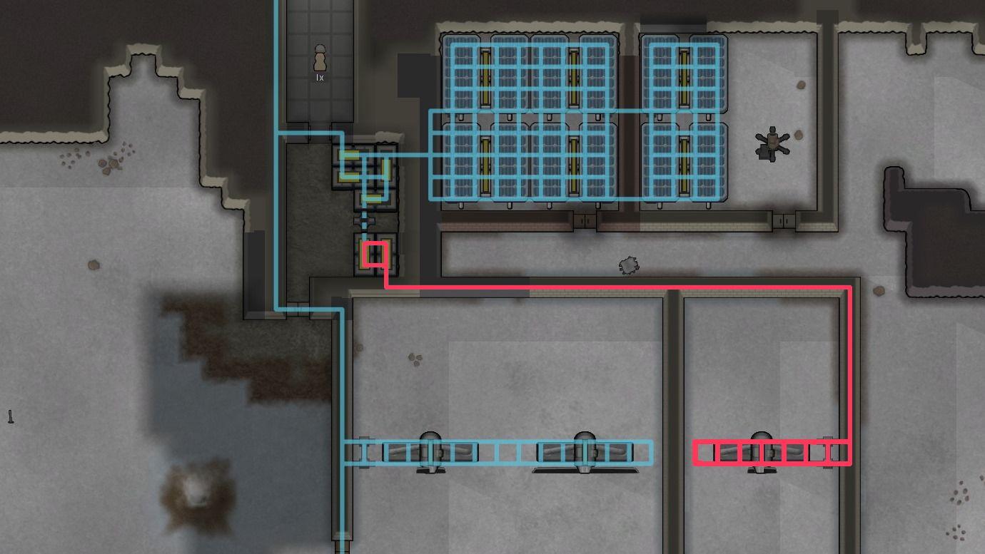 Zwei separate Stromkreise in RimWorld verbunden durch einen Schalter