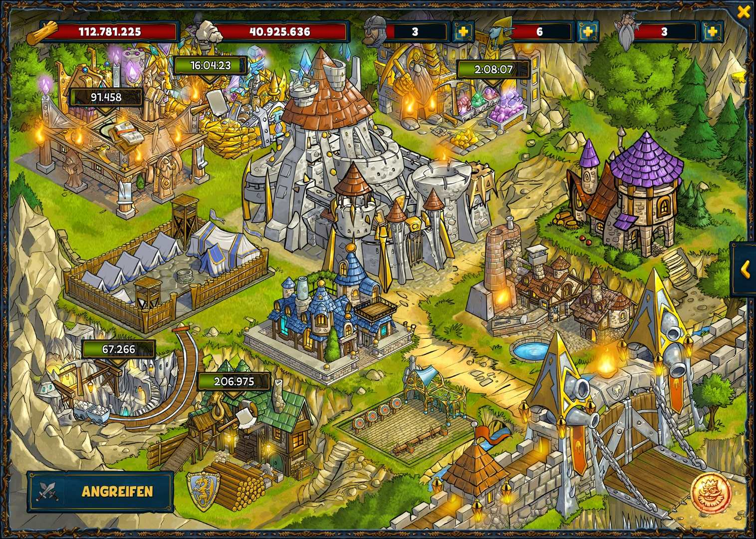 Hoch ausgebaute Festung in Shakes & Fidget