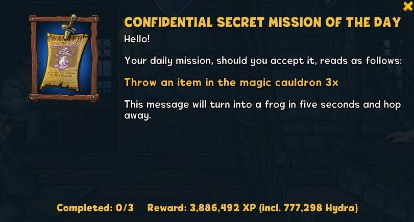 Shakes and Fidget Quest Text des geheimen Geheimauftrag des Tages