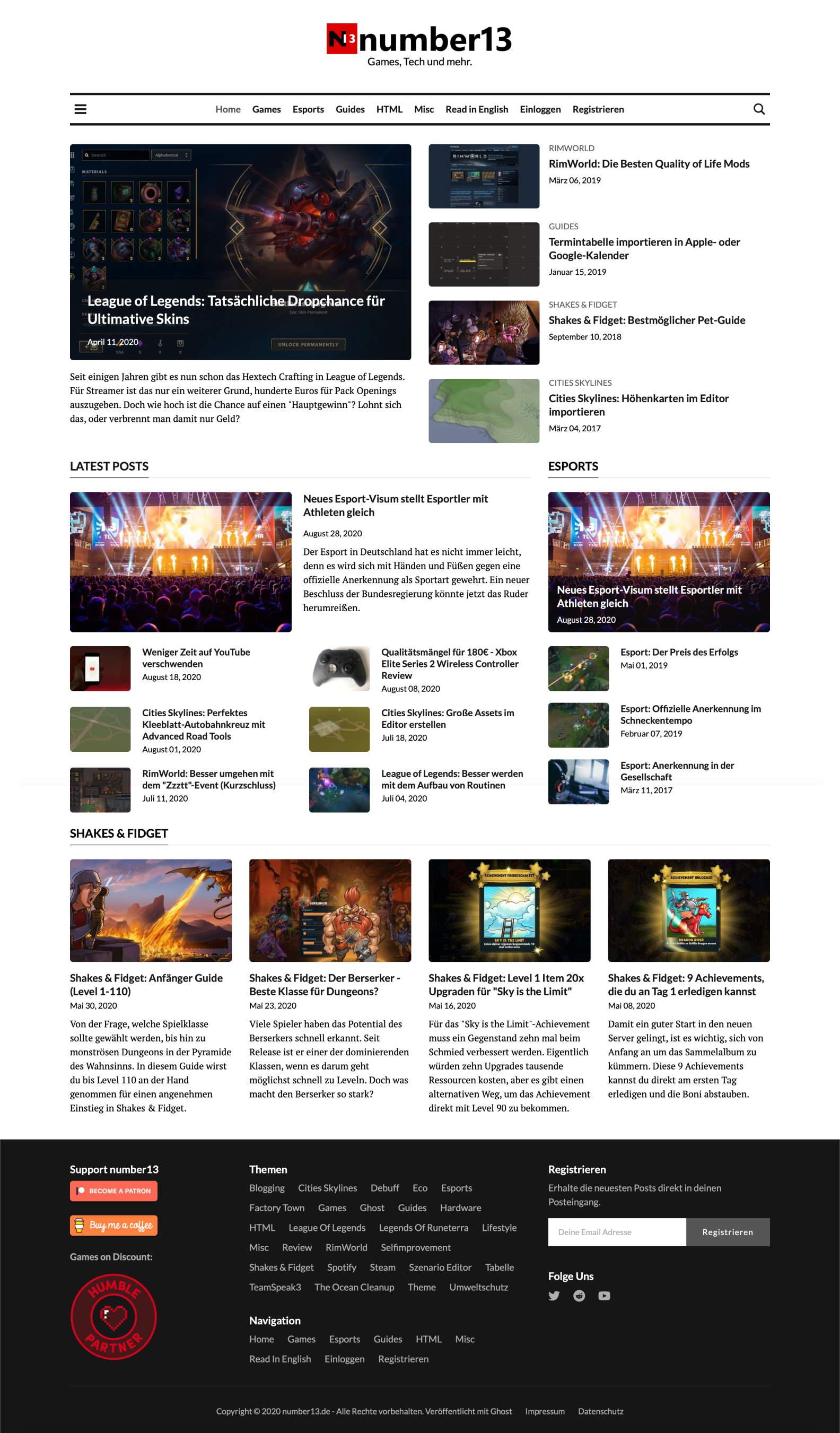 number13 Startseite mit dem World Times Theme