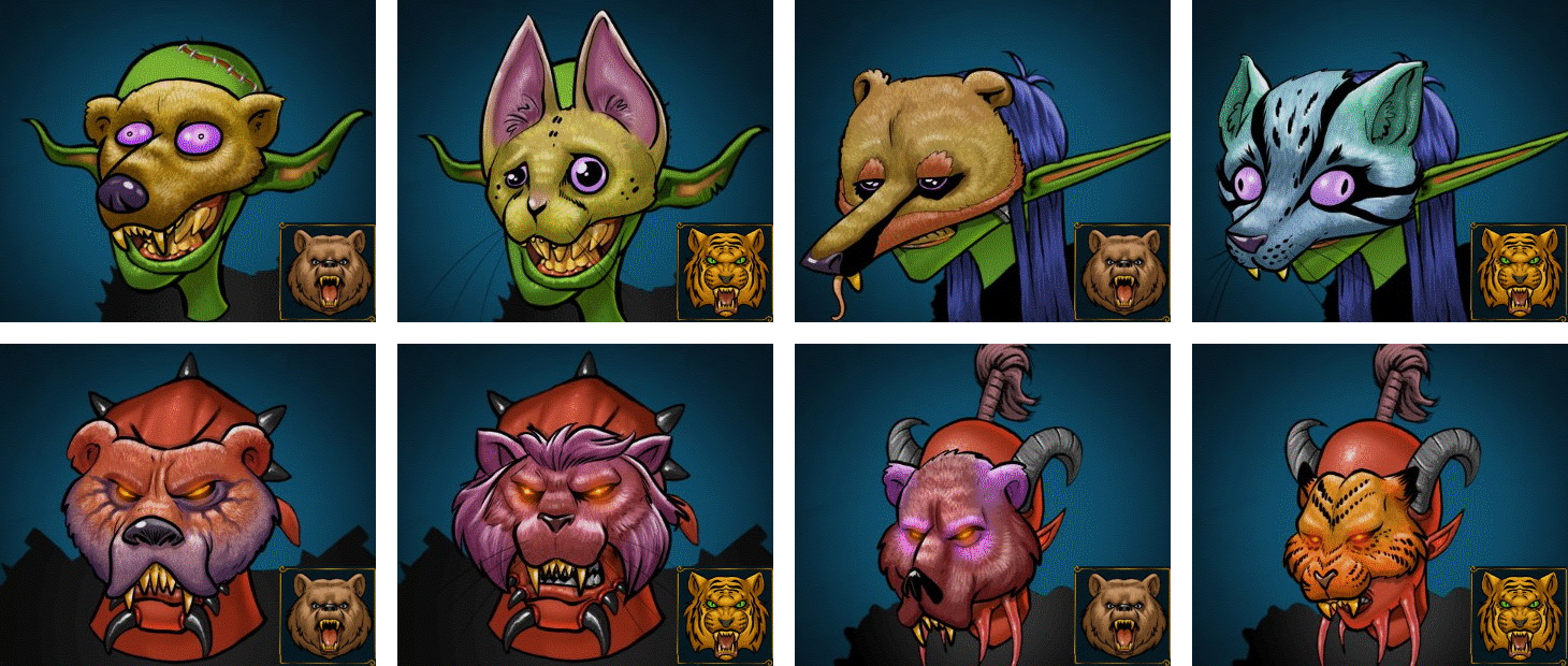 Masken des Druiden für männliche und weibliche Goblins und Dämonen