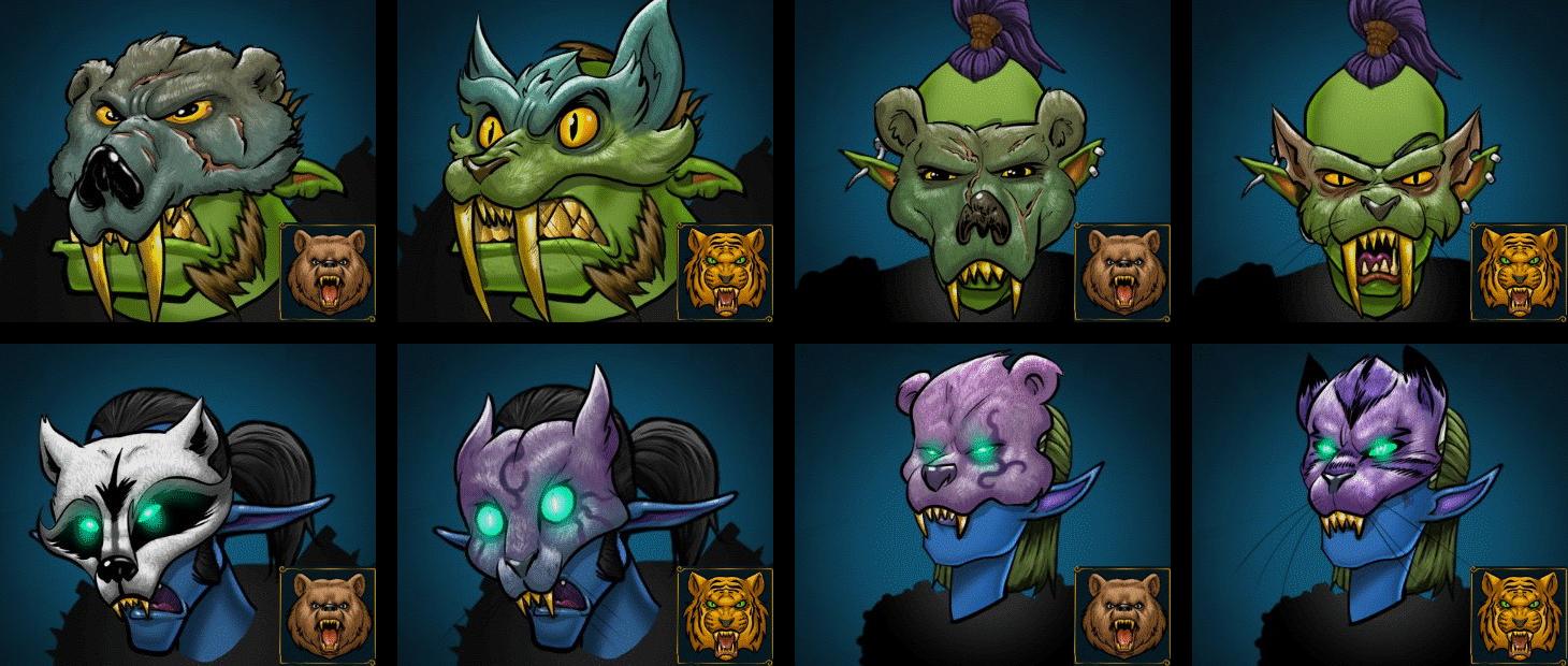 Masken des Druiden für männliche und weibliche Orks und Dunkelelfen