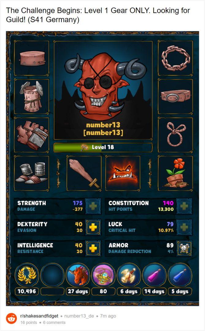 Low Level Charakter in Shakes and Fidget mit vollem Level 1 Equipment in einheitlicher Farbe.