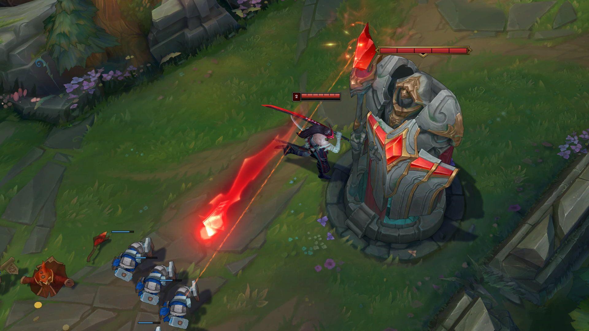 Outer Turret der Midlane in League of Legends mit aktiver Turmpanzerung schießt auf Vasallen.