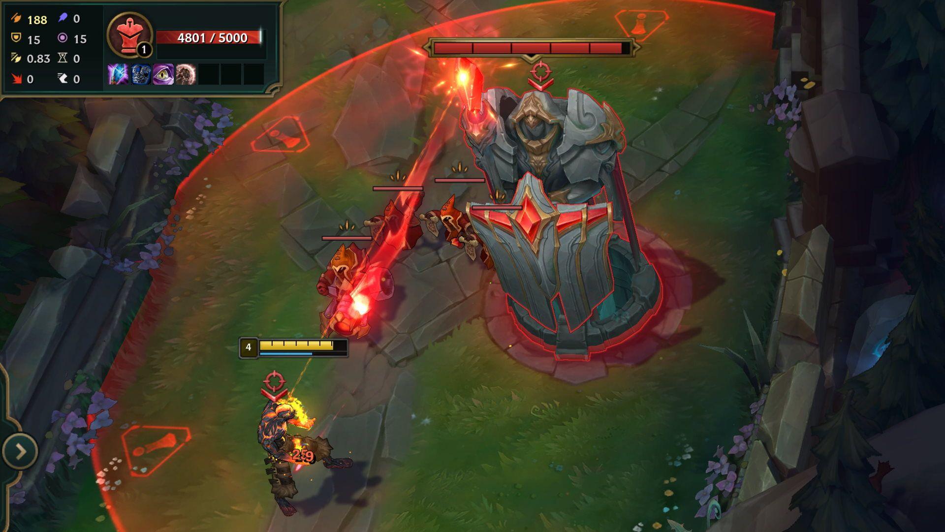 Champion Brand wird in League of Legends vom Tier 1 Turm angegriffen.