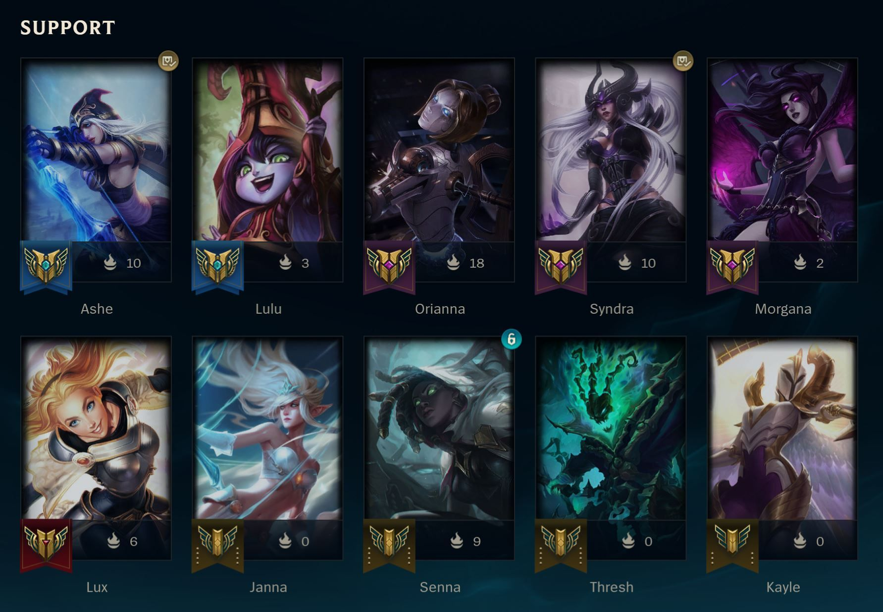 Support Champions in League of Legends
