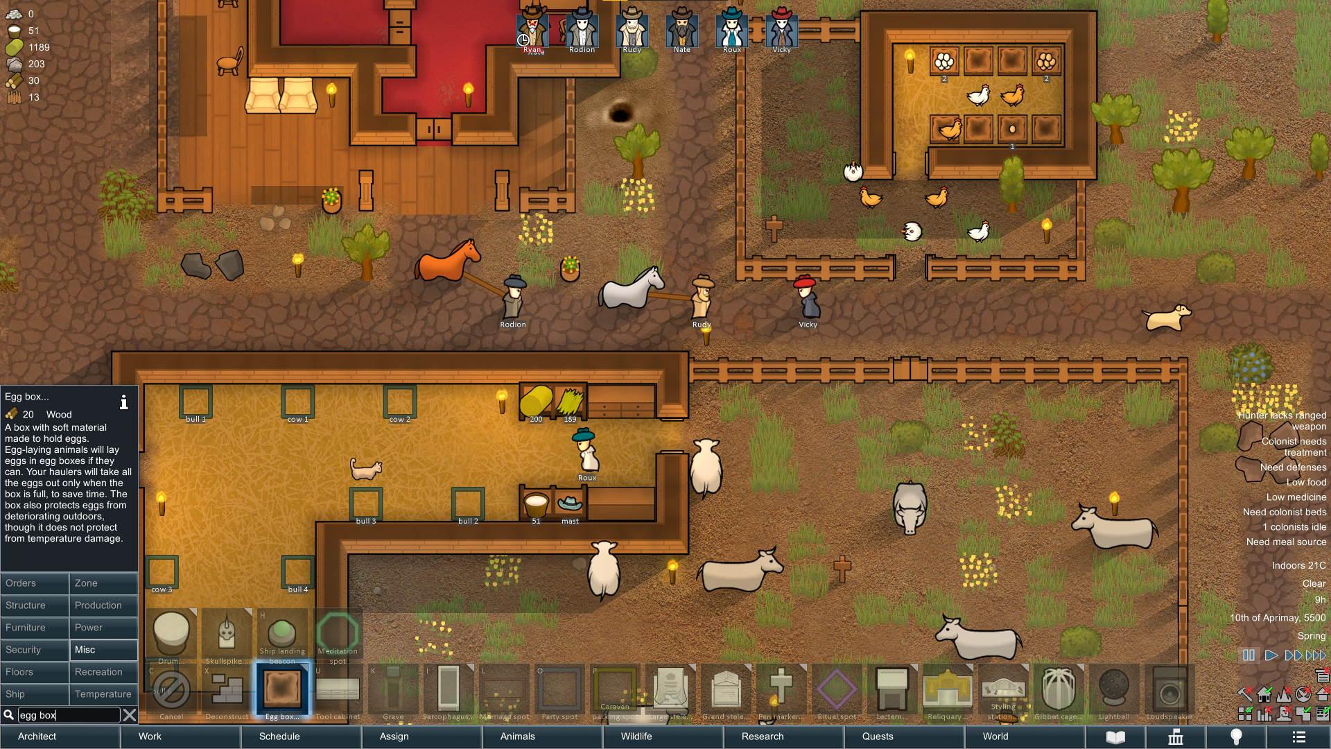Ställe und Gehege für Tiere in Version 1.3 von RimWorld