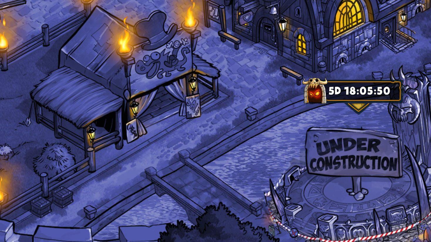 Stadtübersicht mit Baustelle zum Dungeonportal des Legendary Dungeon